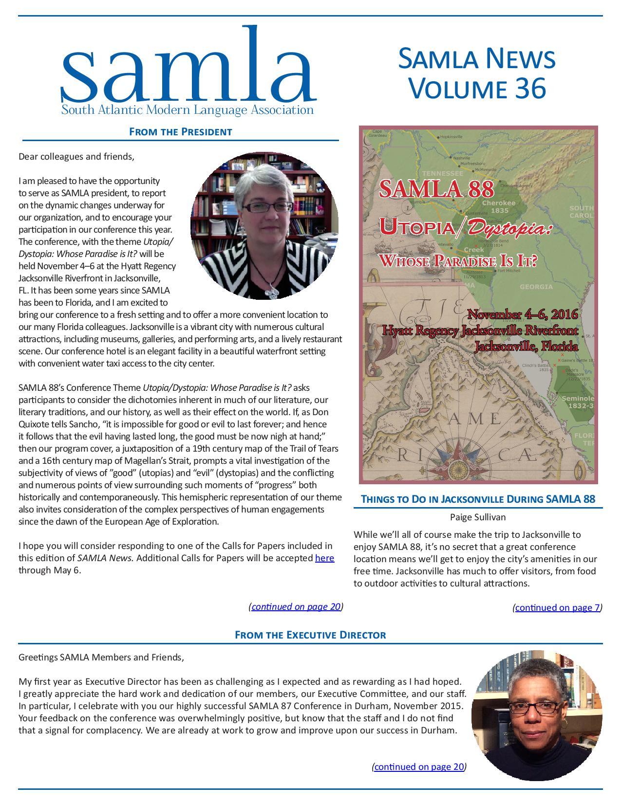 cover of SAMLA News 36