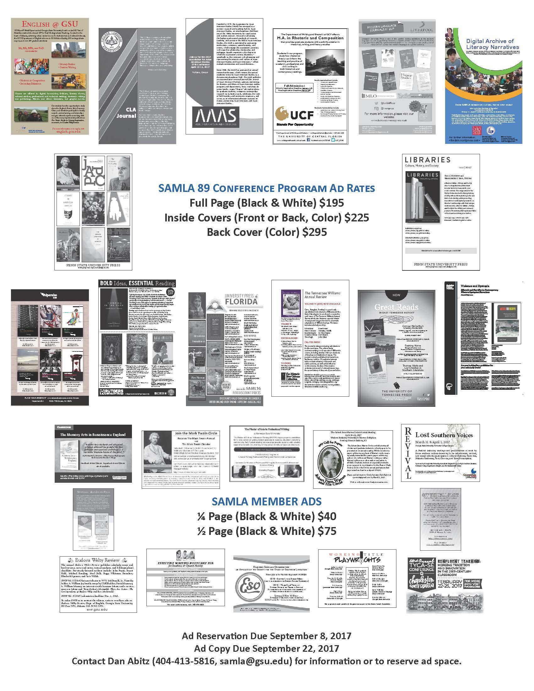 flyer for SAMLA 89 Conference program ads