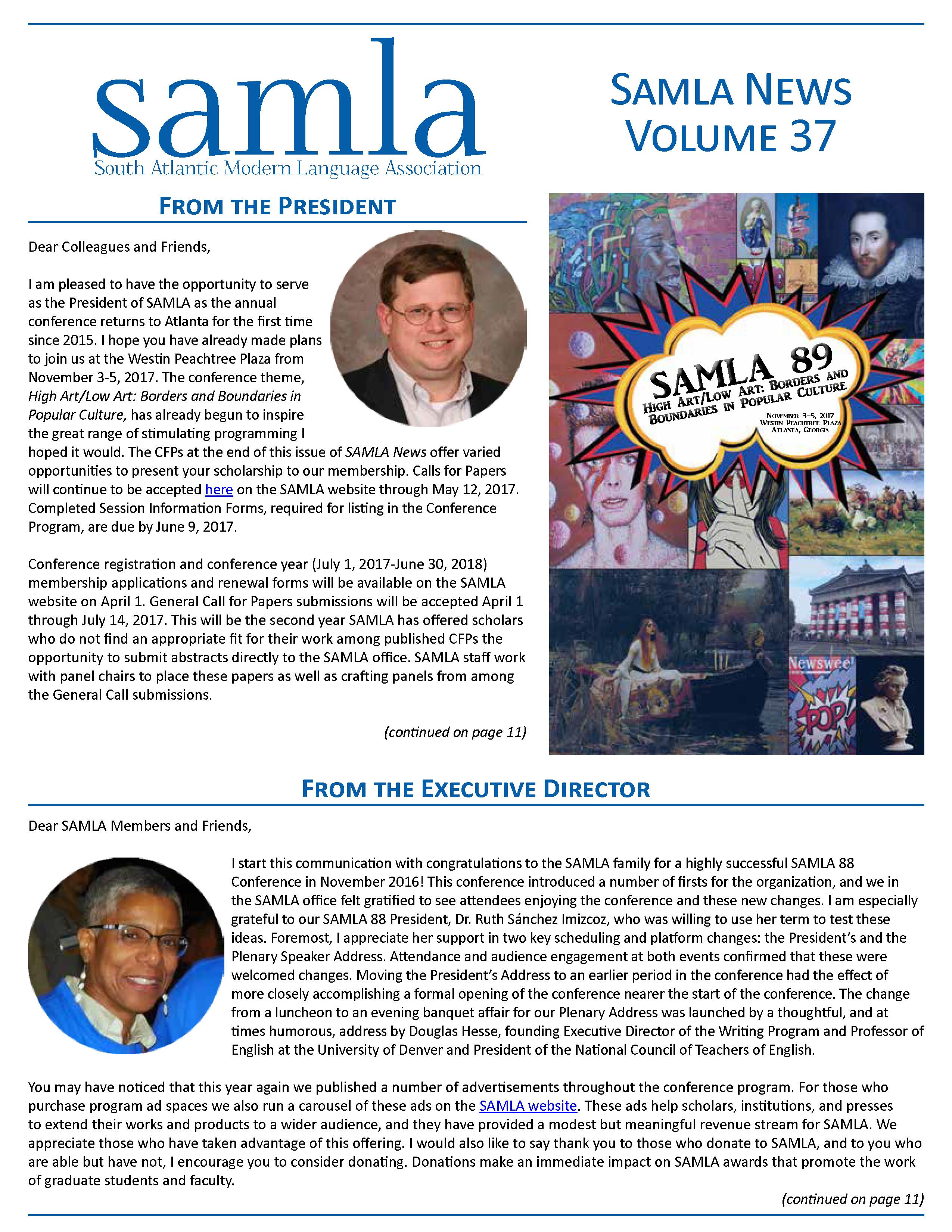 cover of SAMLA News 37