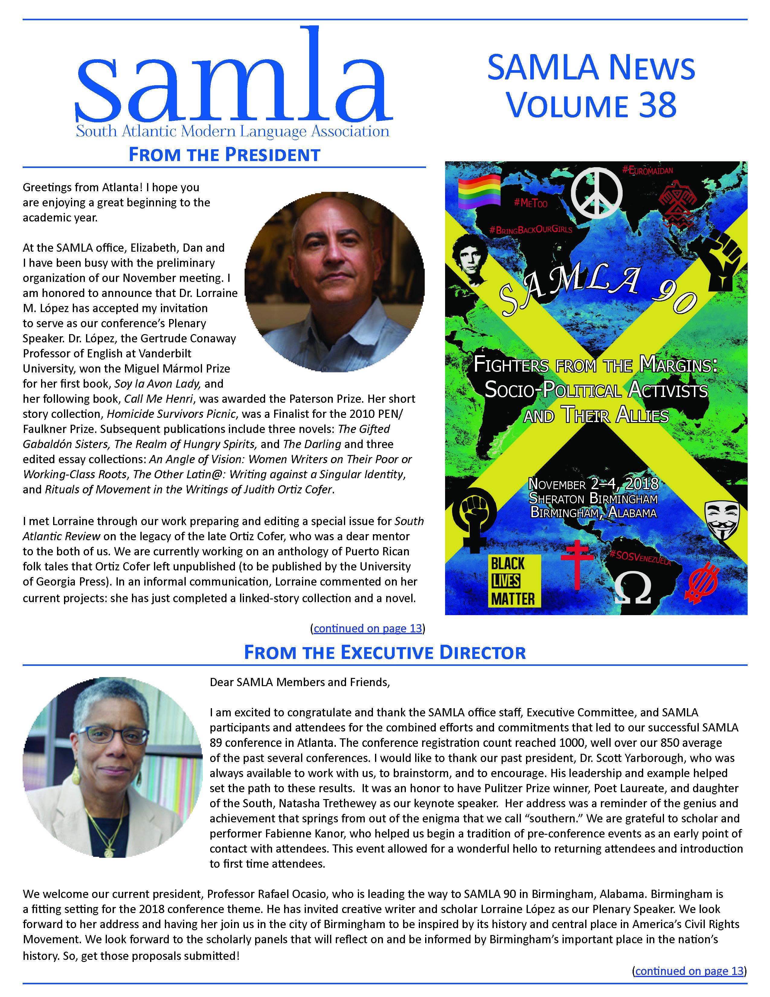 cover of SAMLA News 38