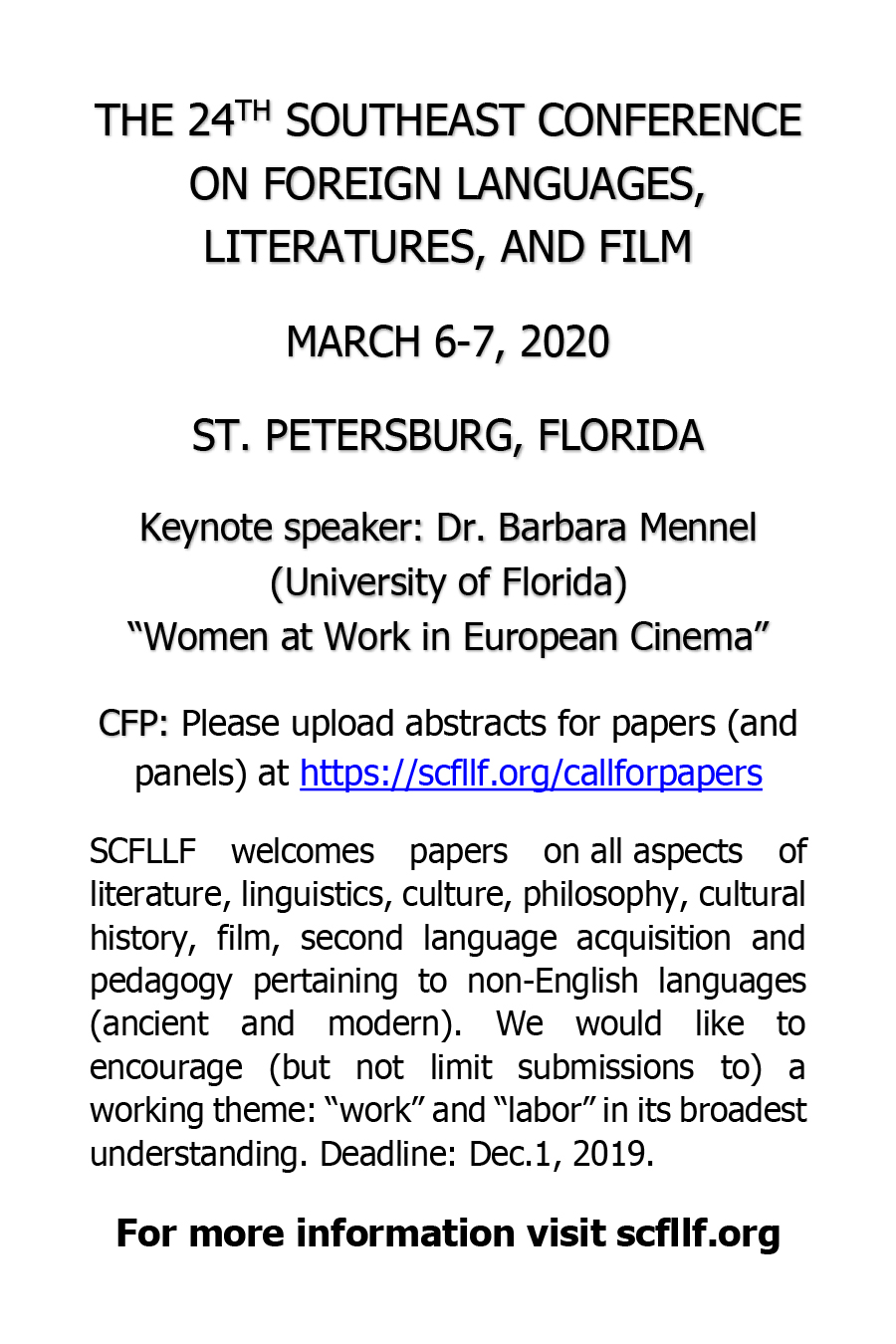Southeast Conference on Foreign Languages, Liteartures, and Film Ad 2019