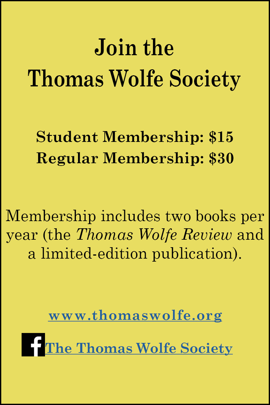 Thomas Wolfe Society Ad 2019